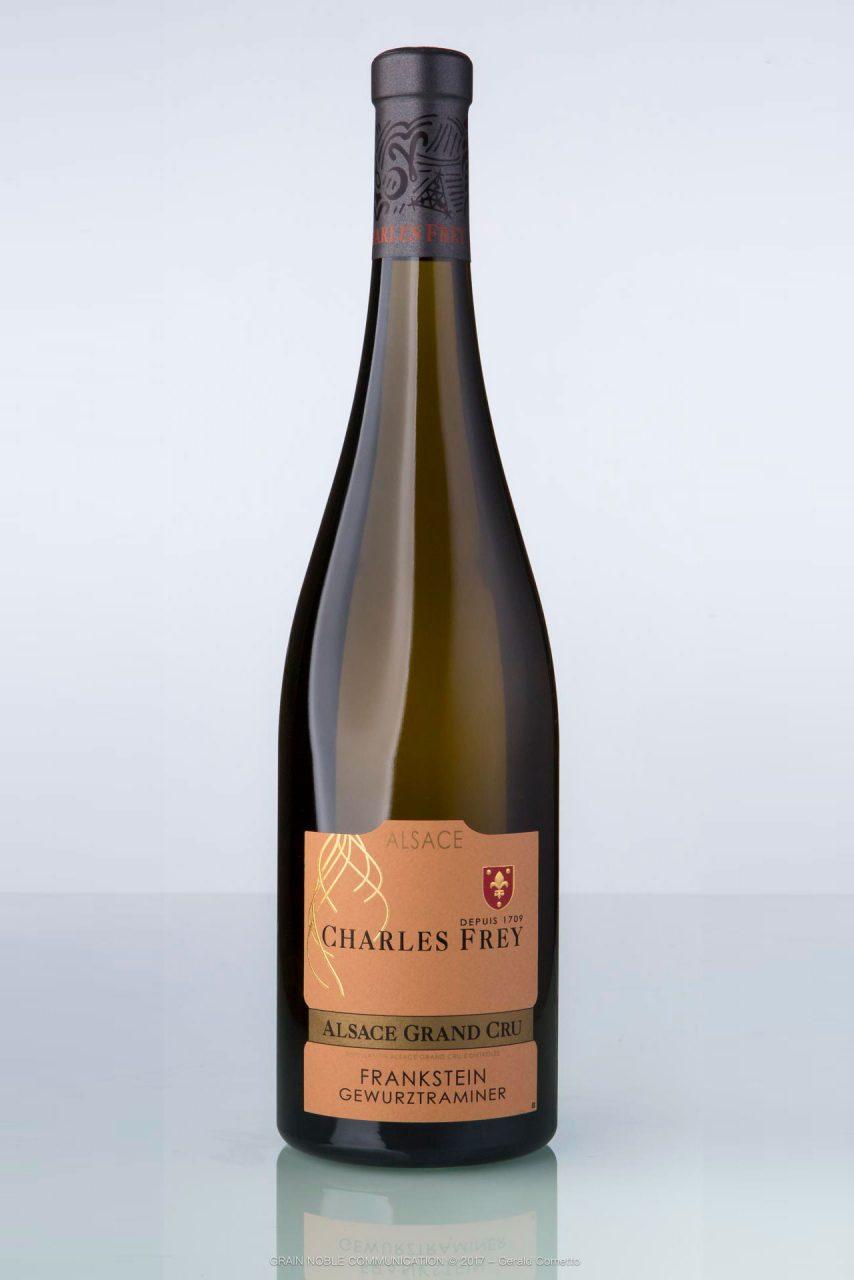 bouteille de vin d'Alsace Gewurztraminer Grand cru Frankstein Charles Frey