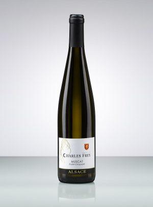 photo d'une bouteille de vin d'Alsace blanc muscat
